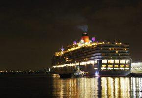 珍しい巨大客船だけでなく、桟橋自体が芸術的な建造物として、見どころですの画像